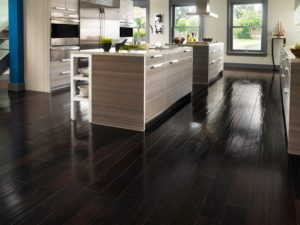 Dark Brown Laminate Flooring In The Kitchen